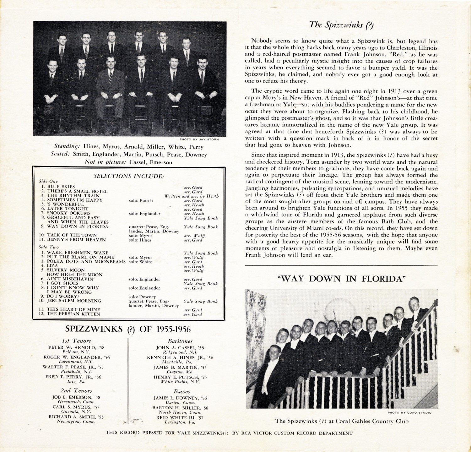 1956 Songs of the Yale Spizzwinks - rear cover