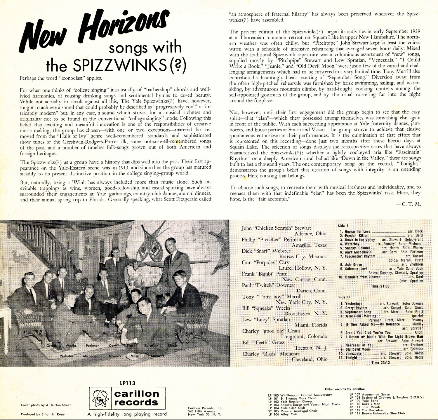 1960 New Horizons - back cover